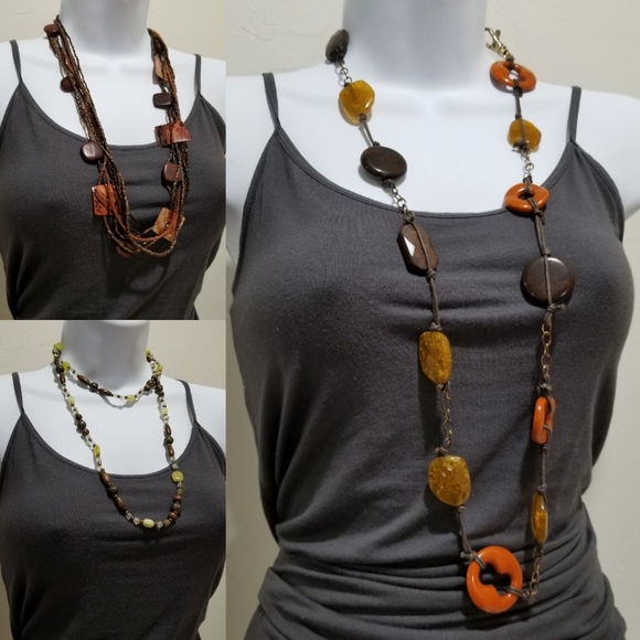 Three Gorgeous Long Natural Style Necklaces